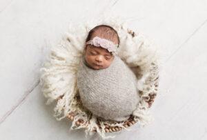Baby girl newborn wrapped up in basket - Newborn Photography in Martinez, Ga & Augusta, Ga