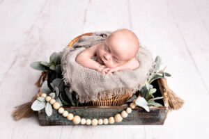 Newborn Photo Shoot in Martinez, Ga & Augusta, Ga- Baby boy posed in farmhouse basket with lambsear and beads