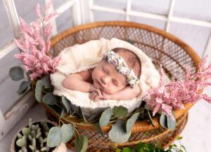 Newborn Photography in Martinez, Ga & Augusta, Ga - Spring styled newborn session - baby in bucket and basket